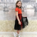 Подростковое летнее платье с фатином