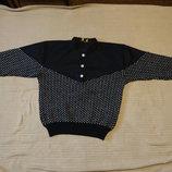 Теплющий жаккардовый шерстяной норвежский пуловер с суконной вставкой