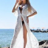 Женская стильная пляжная туника 9066 Гипюр Ажур Макси в расцветках