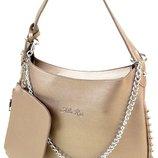 Стильная Сумка Женская ALEX RAI цепь. Модная сумка бронза.