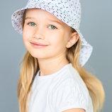 Летняя детская панама панамка сафари на лето белая, принт якорь