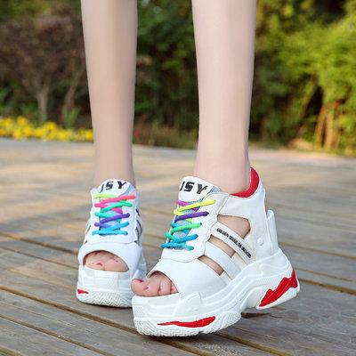 Босоножки на платформе сандалии женские. Модная цветная шнуровка. Хит