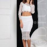 Женский костюм из гипюра Kalipso топ и юбка миди 20708