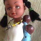 Кукла этно индианка с детьми аутфит коллекционная 20см