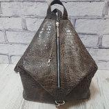 Рюкзак женский Парис натуральная кожа, тиснение под крокодила