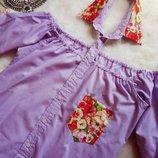 Лиловая рубашка с открытыми плечами,воротником и кармашком в цветочный принт фиолет