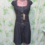 Котоновй сарафан платье под джинс/джинсовый сарафан на пуговицах 46 размер