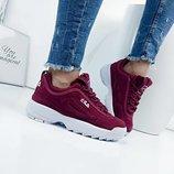Женские кроссовки Fila, белые, бордовые