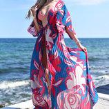 Женская длинная пляжная туника шифон-гофре 9198 Арт Цветы .