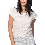 белая женская футболка HAPPINESS с перфорацией. фирменная Турция