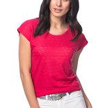 малиновая женская футболка HAPPINESS с перфорацией. фирменная Турция