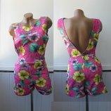 Комбинезон ромпер шортами открытая спина Dolls, с карманами, цветочный принт