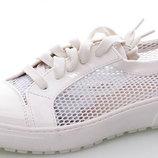 Супер Стильная Модель Белые туфли Мокасины Сетка-Лак Турция