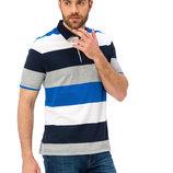 мужское поло белое LC Waikiki / Лс Вайкики в сине-серые полоски