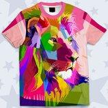 Детская 3D футболка Цветной лев Огромный выбор
