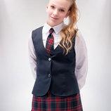 Синий Классический школьный жилет для девочки старшего школьного возраста 152-176р