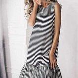 Модное Летнее платье в полоску 42-60р