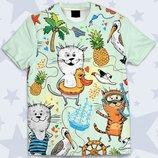 Детская футболка 3D Summer cats Огромный выбор