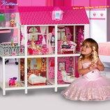Домик для кукол 66884 два этажа с мебелью и три куклы
