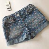 джинсовые шорты в цветочек