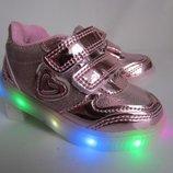 LED кроссовки для девочки Солнце розовые светящиеся, весенние кроссовки для девочки с подсветкой
