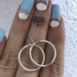 Серьги серебряные 2 см сережки кольца Конго 2086