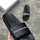 Черные тапочки шлепки balenciaga 40 41 42 43 44 45 размер