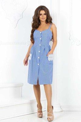 платье коттоновое с принтом клетки на пуговицах с кружевом на карманах Размеры-С,м,л