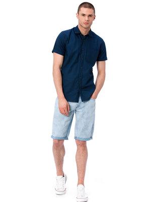 синяя мужская рубашка LC Waikiki / Лс Вайкики с коротким рукавом и карманом на груди