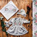 Стильный крестильный набор для девочки. Украинская вышивка. Модель Хп 01 р.56-74 .