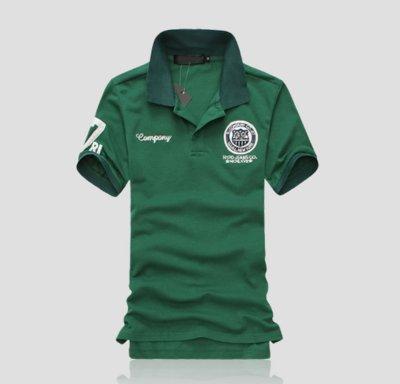 Мужская футболка - поло с воротником код 66 зеленая