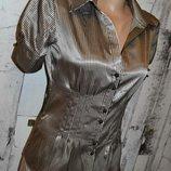 Блуза S, классическая блуза, женская блуза с коротким рукавом, атласная блуза, деловая блуза, блузка