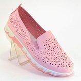 Туфли мокасины розовые пудровые с перфорацией