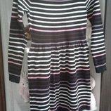 Стильное тёплое платье на девочку 8-10 лет.