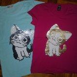 Супер стильная футболка пайетки-перевертыш для девочки 1-8лет,Турция отличное качество .