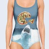 Цельный купальник 3D Shark and pizza Огромный выбор
