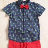 Новогодняя рубашка, шведка с елочками Ребел на 6-7 лет