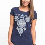 синяя женская футболка De Facto / Де Факто с цветочным узором