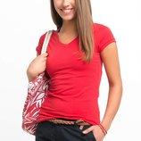 красная женская футболка De Facto/Де Факто с V-образным вырезом