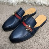 Кожаные тапочки, шлепанцы Gucci Princetown Leather Slipper with Double G Blue