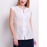Блуза Флори К/р белая летняя блузка без рукавов