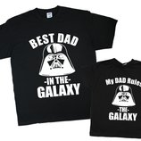 Футболки парные, папа и сын, любая надпись
