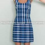 Стильное хлопковое качественное платье в клетку по фигуре
