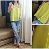 Яркая желтая лимонная блуза в бельевом стиле майка на бретелях Topshop