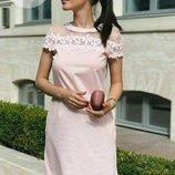 Платье с кружевом - ромашка. Размеры - с , м , л. Ткань - коттон с сеткой.