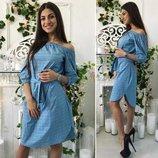 Платье Цвета клетки розовый, голубой, бирюза Ткань рубашка-лён клетка Размеры 42-44, 46-48