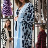 44-50, Кардиган вязаный женский, принт леопард, женский кардиган, вязаное пальто, жіночий кардиган