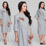 платье ткань -лён полоска Цвета полоски чёрный, розовый, голубой Размеры 42, 44, 46 Отделка апплик