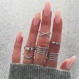 Набор колец на пальцы и фаланги завитки 6 штук