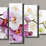 Модульная картина на холсте Орхидеи на стекле 2 для интерьера